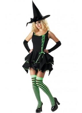 Костюм Ведьмочки с зеленой шнуровкой 1 фото