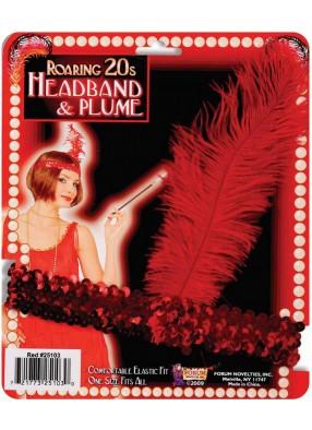 Красная повязка на голову с пером