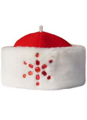 Красная шапка Деда Мороза с мехом и снежинкой