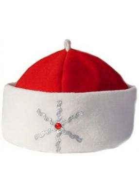 Красная шапка Деда Мороза Серебристая снежинка