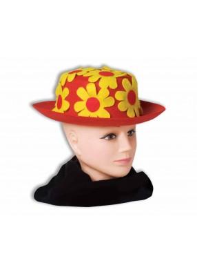 Красная шляпа клоуна с желтыми цветами
