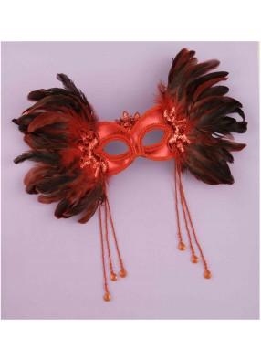 Красная венецианская полумаска с перьями по бокам