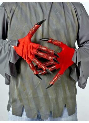 Красные перчатки демона с большими пальцами