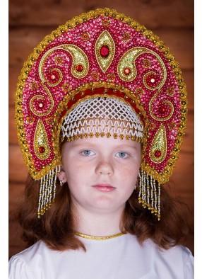 Красно-золотая корона кокошник