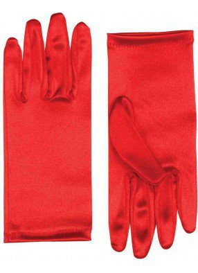 Красные атласные перчатки