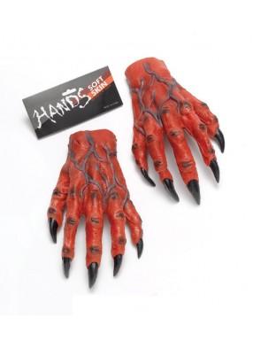 Красные дьявольские руки-перчатки