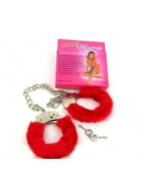 Красные меховые браслеты на лодыжки