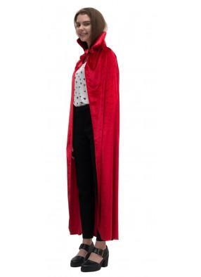 Красный бархатный плащ с воротником-стойкой фото