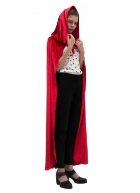 Красный длинный бархатный плащ с капюшоном фото