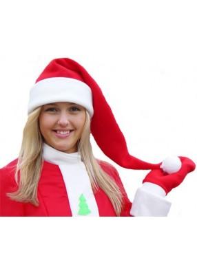 Красный флисовый колпак Деда Мороза длинный