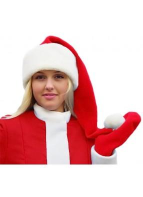 Красный колпак Деда Мороза длинный с мехом
