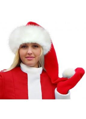 Красный колпак Деда Мороза Люкс с меховой опушкой