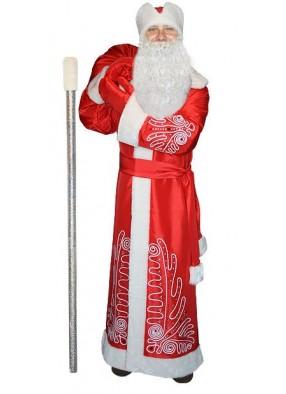 Красный костюм Морозный рисунок для Деда Мороза с бородой и посохом