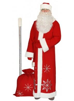 Красный костюм Серебристые снежинки для Деда Мороза с бородой и посохом