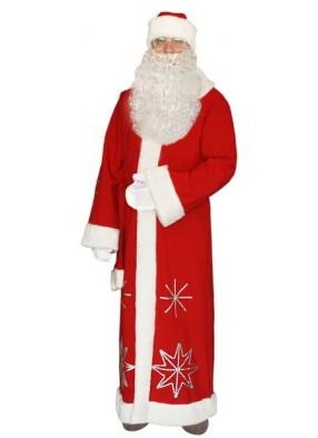 Красный костюм Серебристые снежинки для Деда Мороза