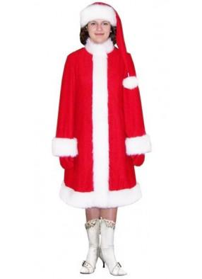 Красный костюм Снегурочки с длинным колпаком
