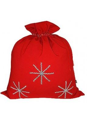 Красный новогодний подарочный мешок Серебристые снежинки