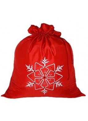 Красный новогодний подарочный мешок Снежинка