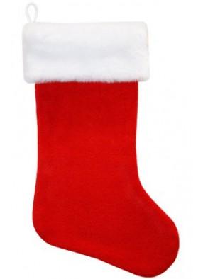 Красный рождественский носок с искусственным мехом