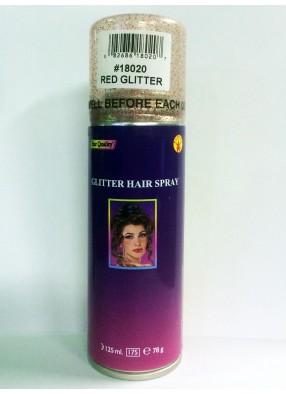 Красный спрей с блестками для волос