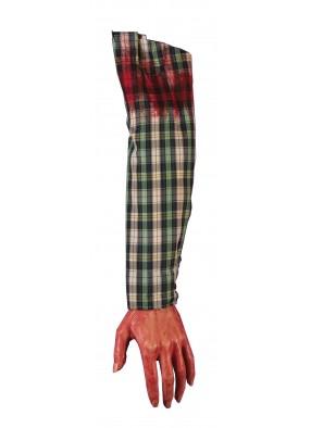 Кровавая рука в клетчатом рукаве фото