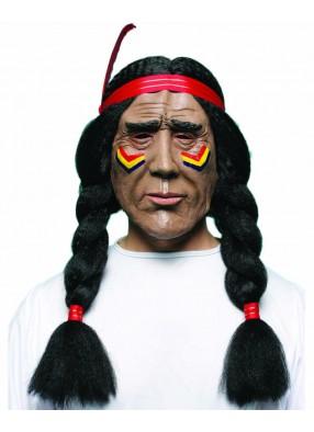 Маска индейца с косами