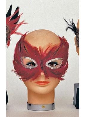 Маска на глаза из красных перьев