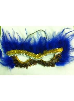 Маска на глаза из синих перьев