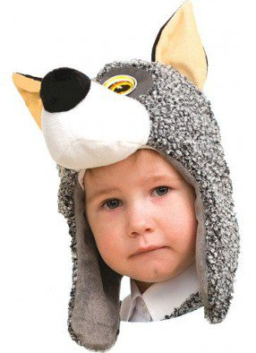 Маска серого Волчонка детская фото
