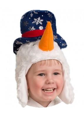 Маска весёлого Снеговичка детская фото