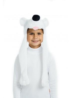 Медвежонок белый шапочка