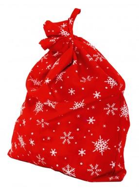 Мешок Деда мороща красный со снежинками