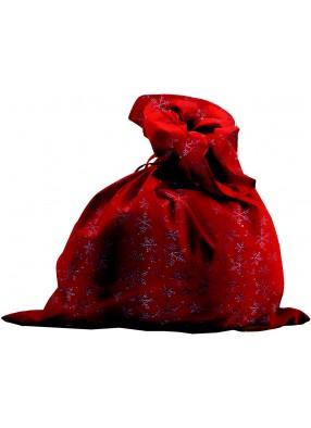 Мешок Деда Мороза красный со снежинками 1 фото