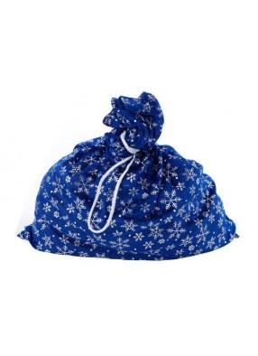 Мешок Деда Мороза синий со снежинками
