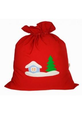 Мешок Деда Мороза Зимняя деревня красный