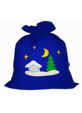 Мешок Деда Мороза Зимняя деревня синий