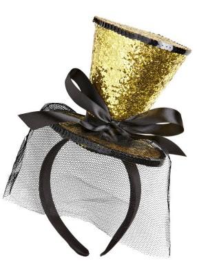 Мини цилиндр на ободке золотой