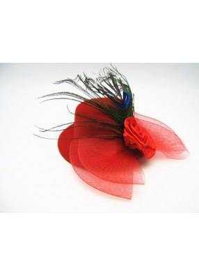 Мини-шляпка красная с розой