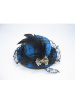 Мини-шляпка синяя