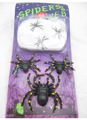 Набор пауков с паутиной