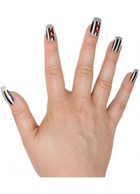 Накладные ногти в черно-белую полоску