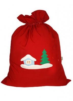 Небольшой мешок Деда Мороза Зимняя деревня красный