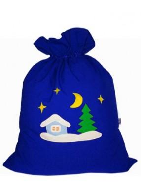 Небольшой мешок Деда Мороза Зимняя деревня синий