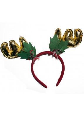 Новогодние оленьи рожки золотистые фото