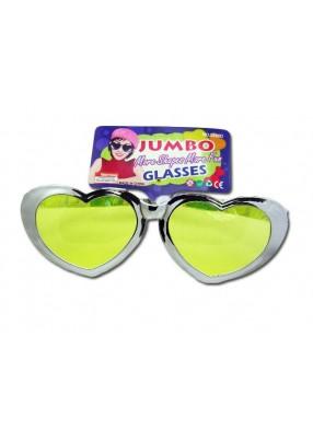 Очки-сердечки блестящие пластиковые