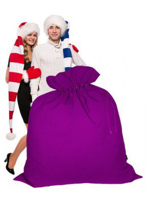 Огромный подарочный мешок Деда Мороза фиолетовый