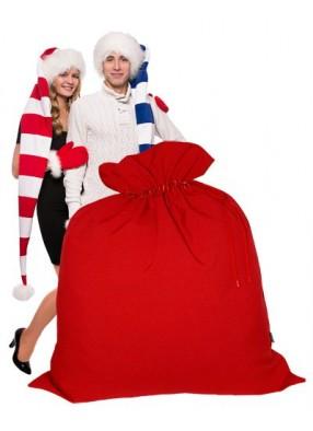 Огромный подарочный мешок Деда Мороза красный