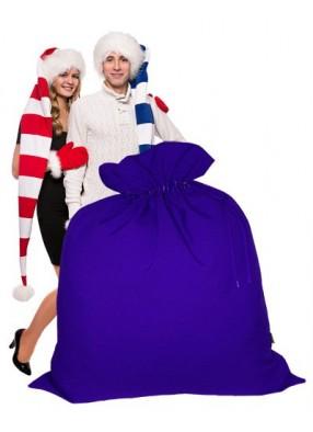 Огромный подарочный мешок Деда Мороза синий