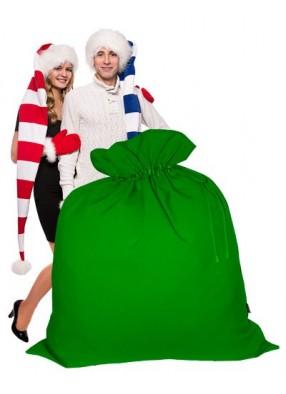 Огромный подарочный мешок Деда Мороза зеленый