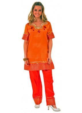 Оранжевый костюм индийской леди